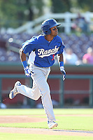 Casio Grider #3 of the Rancho Cucamonga Quakes runs to first base during a game against the Inland Empire 66ers at San Manuel Stadium on August 10, 2014 in San Bernardino, California. Inland Empire defeated Rancho Cucamonga, 4-1. (Larry Goren/Four Seam Images)