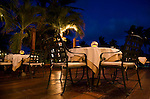 Patio dining at Victoria House Resort in San Pedro on Ambergris Caye, Belize, Central America