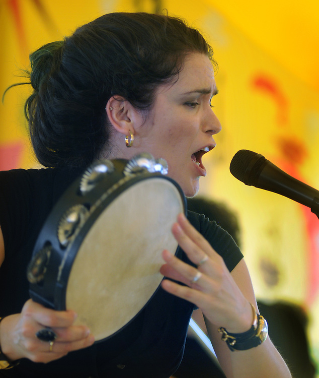 Cristina Pato, performing Galician Bagpipe Fusion music, on the Dance Stage, on the first day of the Clearwater's Great Hudson River Revival Festival 2013, held at Croton Point Park, in Croton-on-Hudson, NY, June 15, 2013. Photo by Jim Peppler. Copyright Jim Peppler 2013 all rights reserved.