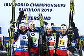 16th March 2019, Ostersund, Sweden; IBU World Championships Biathlon, day 8, mens relay; (L-R) Johannes Thingnes Boe, Vetle Sjaastad Chrisitiansen, Lars Helge Birkeland and Tarjei Boe of Norway
