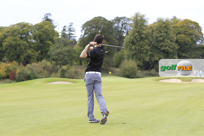 Jake Whelan (MU) on the 18th fairway during the Final of the AIG Senior Cup at the AIG Cups &amp; Shields National Finals in Carton House, Maynooth, Co. Kildare on the 19/09/15.<br /> Picture: Thos Caffrey | Golffile