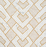 Serengeti Stripe, a hand-chopped stone mosaic, shown in tumbled Travertine White and Calacatta Gold with polished Xanadu. Designed by Joni Vanderslice as part of the J. Banks Collection for New Ravenna.
