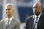 21 June 2007:  CONCACAF President Jack Warner (right) and US Soccer President Sunil Gulati (left), pregame. The United States Men's National Team defeated the national team of Canada 2-1 in a CONCACAF Gold Cup Semifinal match at Soldier Field in Chicago, Illinois.