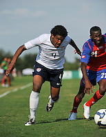 Sheanon Williams (4) of the USA and Mynor Escoe (21) of Costa Rica. The US U-20 Men's National Team defeated the U-20 Men's National Team of Costa Rica 2-1 in an international friendly during day four of the US Soccer Development Academy  Spring Showcase in Sarasota, FL, on May 25, 2009.
