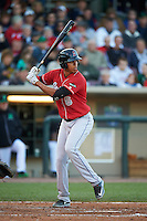 Great Lakes Loons outfielder Alex Santana (6) at bat during a game against the Dayton Dragons on May 21, 2015 at Fifth Third Field in Dayton, Ohio.  Great Lakes defeated Dayton 4-3.  (Mike Janes/Four Seam Images)