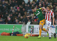 Preston North End's Sean Maguire shields the ball from Stoke City's Moritz Bauer<br /> <br /> Photographer Stephen White/CameraSport<br /> <br /> The EFL Sky Bet Championship - Stoke City v Preston North End - Saturday 26th January 2019 - bet365 Stadium - Stoke-on-Trent<br /> <br /> World Copyright © 2019 CameraSport. All rights reserved. 43 Linden Ave. Countesthorpe. Leicester. England. LE8 5PG - Tel: +44 (0) 116 277 4147 - admin@camerasport.com - www.camerasport.com
