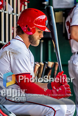 """8 July 2017: Washington Nationals outfielder Bryce Harper sits """"in the hole"""" awaiting his at-bat during a game against the Atlanta Braves at Nationals Park in Washington, DC. The Braves shut out the Nationals 13-0 to take the third game of their 4-game series. Mandatory Credit: Ed Wolfstein Photo *** RAW (NEF) Image File Available ***"""