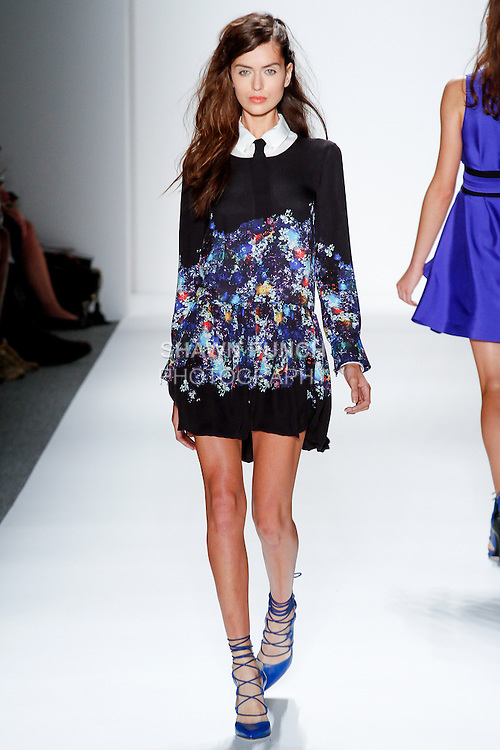 Model walks runway in an outfit from the Marissa Webb Spring Summer 2014 collection, during Mercedes-Benz Fashion Week Spring 2014 at Lincoln Center on September 5, 2013