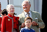 16-04-2014 Balcony 74th birthday of the Danish Queen at Marselisborg Castle in Aarhus.<br /> Queen Margrethe and Prince Henrik.<br /> Prince Christian <br /> <br /> <br /> <br /> Credit: PPE/face to face<br /> - No Rights for Netherlands -
