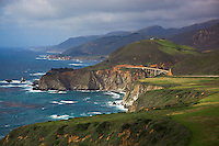Monterey County, CA<br /> Big Sur coastline and headlands from Hurricane Point with Bixby Bridge in the distance, Cabrillo Highway