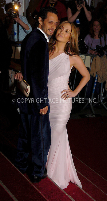"WWW.ACEPIXS.COM . . . . .  ....NEW YORK, MAY 1, 2006....Jennifer Lopez and Marc Anthony at the ""AngloMania"" Costume Institute Gala at The Metropolitan Museum of Art.....Please byline: AJ Sokalner - ACEPIXS.COM.... *** ***..Ace Pictures, Inc:  ..(212) 243-8787 or (646) 769 0430..e-mail: picturedesk@acepixs.com..web: http://www.acepixs.com"