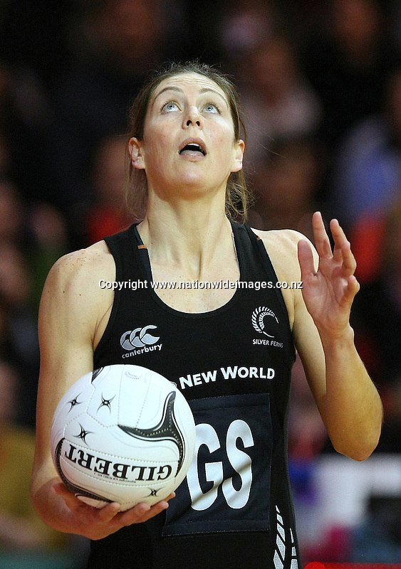 New Zealand's Irene van Dyk against Australia in the New World Netball Series match, SIT Zero Fees velodrome, Invercargill, New Zealand, Sunday, September 15, 2013. Credit:NINZ / Dianne Manson.