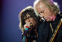 Steven Tyler and Brad Whitford of Aerosmith perform at the Forum