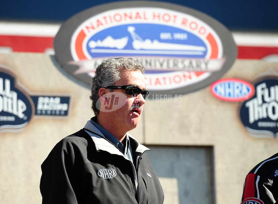 Feb. 27, 2011; Pomona, CA, USA; NHRA president Tom Compton during the Winternationals at Auto Club Raceway at Pomona. Mandatory Credit: Mark J. Rebilas-.
