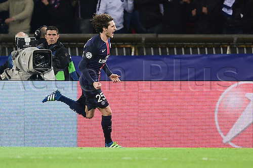 06.04.2016. Paris, France. UEFA CHampions League, quarter-final. Paris St Germain versus Manchester City. Celebration for the goal scored from Adrien Rabiot (PSG)