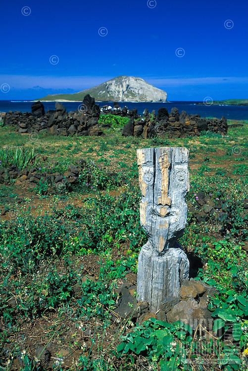 Hawaiian Heiau located along windward coast near Makapuu point, Oahu.