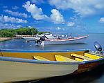 Barbuda, West Indies<br /> Fishing boats on Codrington Lagoon - Caribbean Leeward Islands