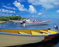 Barbuda, West Indies<br /> Fishing boats on Codrington Lagoon - Caribbean Leeward Islands