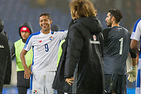 Gabriel Torres of Panama celebrates his side's draw with goalkeeper Jaime Penedo during the International Friendly match between Wales and Panama at the Cardiff City Stadium, Cardiff, Wales on 14 November 2017. Photo by Mark Hawkins.