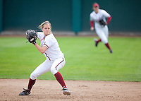 STANFORD, CA - April 2, 2011: Jenna Rich of Stanford softball throws to first during Stanford's game against Arizona at Smith Family Stadium. Stanford lost 6-1.