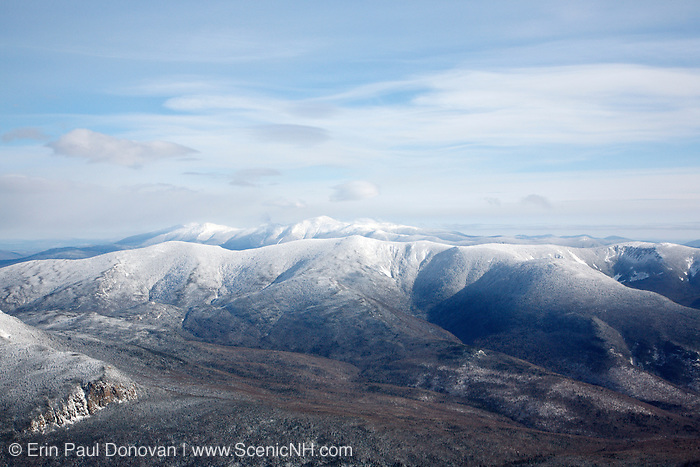 Pemigewasset Wilderness from Mount Lafayette during the winter months in the White Mountains of New Hampshire. Mount Garfield is out of sight above the cliffs on the left. The Pemi Wilderness was logged during the East Branch & Lincoln Railroad era (1893-1948).