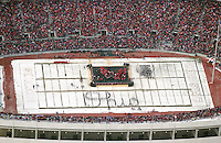 (Holman 1/18/2003 OSU19)  Aerial of Ohio Stadium during Ohio State University celebration of the 2002 national championship season in Columbus, OH Saturday January 18, 2003.  (Dispatch photo by Craig Holman)