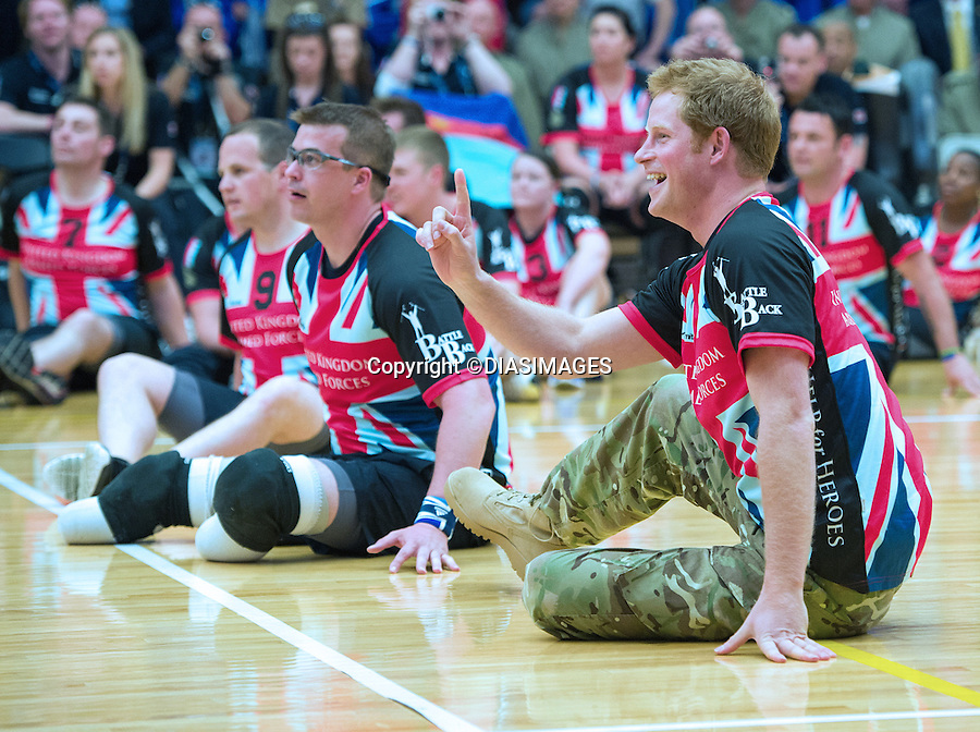 """PRINCE HARRY.participates in the seating volleyball competition as a member of the British team during the Warrior Games in Colorado Springs, Olympic Park_11/05/2013.Prince Harry is on a week long USA visit the includes Washington, Denver, Colorado Springs, New Jersey, New York and Conneticut..Mandatory credit photo:©DIASIMAGES..NO UK SALES FOR 28 DAYS.(Failure to credit will incur a surcharge of 100% of reproduction fees)..**ALL FEES PAYABLE TO: """"NEWSPIX  INTERNATIONAL""""**..Newspix International, 31 Chinnery Hill, Bishop's Stortford, ENGLAND CM23 3PS.Tel:+441279 324672.Fax: +441279656877.Mobile:  07775681153.e-mail: info@newspixinternational.co.uk"""