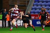 Picture by Alex Whitehead/SWpix.com - 20/04/2018 - Rugby League - Betfred Super League - Wigan Warriors v Castleford Tigers - DW Stadium, Wigan, England - Wigan's Liam Marshall is tackled by Castleford's Paul McShane.