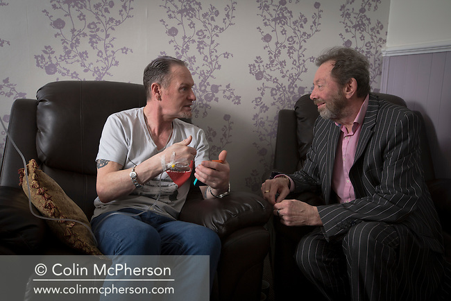 Former international footballer Paul 'Gazza' Gascoigne (left) chatting to Dr Peter Willis, whilst undergoing a nutrient infusion at Cassiobury Court, a drug and alcohol rehabilitation clinic in Watford, England. The pioneering protocol, involving a product known as NAD+, helps repair the brain and body has been introduced to the United Kingdom by John Gillen, managing director of London-based firm Bionad Ltd. Patients undergo several infusions, which can take up to several hours to complete, under medical supervision at the clinic by a practitioner such as Dr Willis.