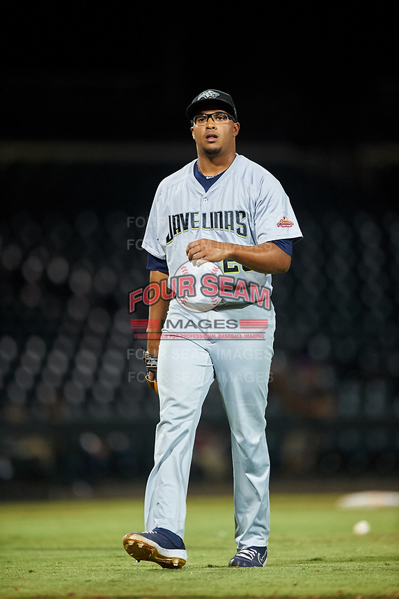 Peoria Javelinas relief pitcher Aaron Fletcher (28), of the Seattle Mariners organization, walks off the field between innings of an Arizona Fall League game against the Mesa Solar Sox on September 21, 2019 at Sloan Park in Mesa, Arizona. Mesa defeated Peoria 4-1. (Zachary Lucy/Four Seam Images)
