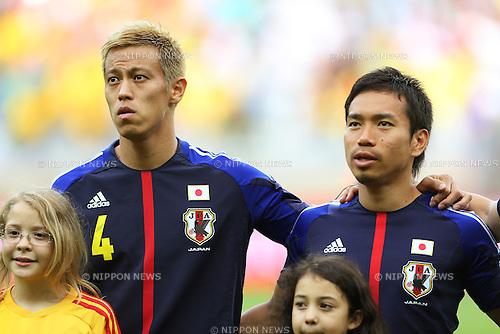 (L to R) Keisuke Honda, Yuto Nagatomo (JPN), <br /> June 22, 2013 - Football / Soccer : <br /> FIFA Confederations Cup Brazil 2013, Group A <br /> match between Japan 1-2 Mexico <br /> at Estadio Mineirao, Belo Horizonte, Brazil. <br /> (Photo by Daiju Kitamura/AFLO SPORT)