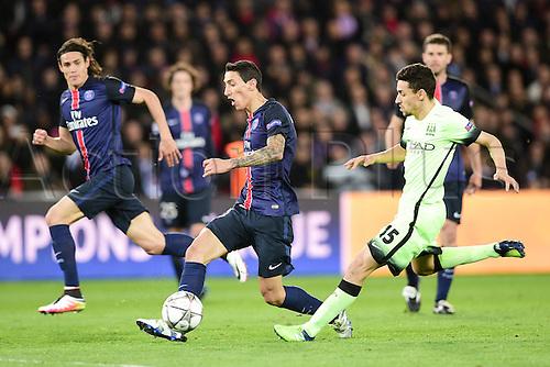 06.04.2016. Paris, France. UEFA CHampions League, quarter-final. Paris St Germain versus Manchester City.  Angel Di Maria (PSG) chased down by Jesus Navas (Manchester City)