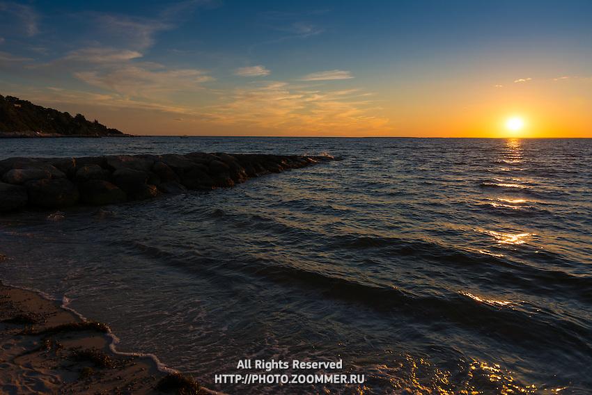 Sunet over Atlantic Ocean on Old Silver Beach, Cape Cod, Massachusetts