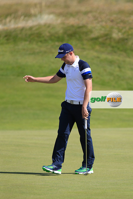 Paul McBride (The Island) on the 17th green during Matchplay Round 3 of the South of Ireland Amateur Open Championship at LaHinch Golf Club on Saturday 25th July 2015.<br /> Picture:  Golffile | TJ Caffrey