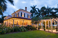 Thomas Edison inventor home and museum in Ft Myers Florida Christmas Lights at exterior of Main House with palm trees and grounds
