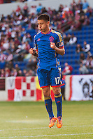 Dillon Serna (17) of the Colorado Rapids reacts to a missed scoring opportunity during the first half against the New York Red Bulls during a Major League Soccer (MLS) match at Red Bull Arena in Harrison, NJ, on March 15, 2014.