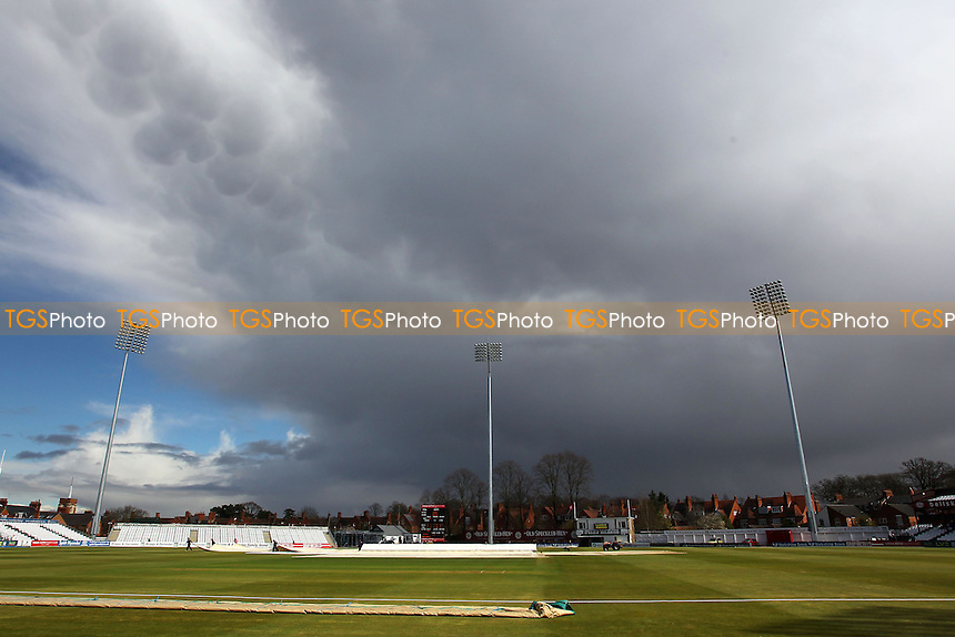General view as rain stops play after lunch - Northamptonshire CCC vs Essex CCC - LV County Championship Division Two Cricket at the County Ground, Northampton - 18/04/13 - MANDATORY CREDIT: Gavin Ellis/TGSPHOTO - Self billing applies where appropriate - 0845 094 6026 - contact@tgsphoto.co.uk - NO UNPAID USE.