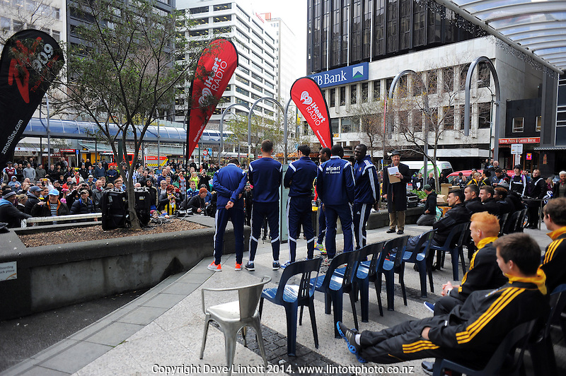 Football United Tour public presser and double-header promotion at Midland Park, Wellington, New Zealand on Friday, 25 July 2014. Photo: Dave Lintott / lintottphoto.co.nz