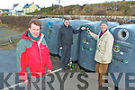 BRING BANK: Mike O'Neill chairperson of the Fenit Development Association with John Moriarty and Pat O'Mahony of Fenit Tidy Towns who are taken part in the Adopt A Bottle Bank run by Kerry County Council at the Fenit Bring Bank on Friday.