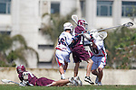 Los Angeles, CA 03/20/10 - Cooper Robbins (Arizona # 10), Chris Plummer (Arizona # 36), Alec Paul (LMU # 7) and Greg Sharron (LMU # 18) in action during the Arizona-Loyola Marymount University MCLA game at Leavey Field (LMU).  LMU defeated Arizona 13-6.