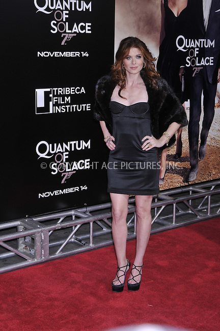 WWW.ACEPIXS.COM . . . . .....November 11, 2008. New York City.....Actress Debra Messing attends the 'Quantum of Solace' Premiere held at the AMC Lincoln Square on November 11, 2008 in New York City...  ....Please byline:  AJ Sokalner  - ACEPIXS.COM..... *** ***..Ace Pictures, Inc:  ..Philip Vaughan (646) 769 0430..e-mail: info@acepixs.com..web: http://www.acepixs.com