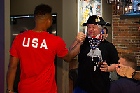 Zack Steffen meets with a fan attending a U.S. Soccer Sunday Kick-off Series Event at Nashville Underground on Sunday, September 9, 2018 in Nashville, TN.