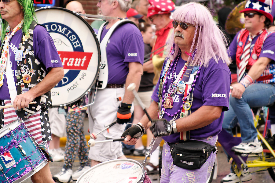 Marching band marching in Kla Ha Ya Days Parade, Snohomish, Snohomish County, Washington, USA