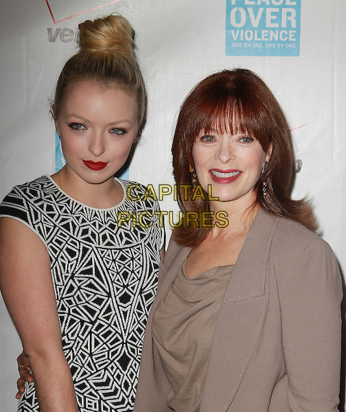 Francesca Eastwood, Frances Fisher.41st Annual Peace Over Violence Humanitarian Awards Held At The Beverly Hills Hotel, Beverly Hills, California, USA, 26th October 2012..half length beige jacket top jeans  grey gray black white print dress  patterned bag mother daughter family .CAP/ADM/KB.©Kevan Brooks/AdMedia/Capital Pictures.