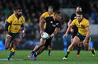 Sevu Reece passes during the Bledisloe Cup Rugby match between the New Zealand All Blacks and Australia Wallabies at Eden Park in Auckland, New Zealand on Saturday, 17 August 2019. Photo: Simon Watts / lintottphoto.co.nz