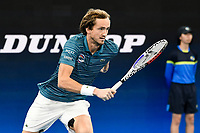 11th January 2020; Sydney Olympic Park Tennis Centre, Sydney, New South Wales, Australia; ATP Cup Australia, Sydney, Day 9; Serbia versus Russia;  Novak Djokovic versus Daniil Medvedev; Daniil Medvedev of Russia runs to the net in his match against Novak Djokovic of Serbia - Editorial Use