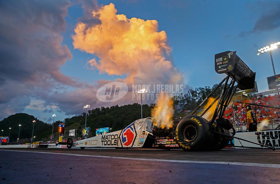 Jun 16, 2017; Bristol, TN, USA; NHRA top fuel driver Antron Brown during qualifying for the Thunder Valley Nationals at Bristol Dragway. Mandatory Credit: Mark J. Rebilas-USA TODAY Sports