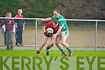 Jerome Flynn Milltown/Castlemaine stops Cormac Ryan Clondegad in the quarter final of the Munster Intermediate Club championship at Milltown on Sunday