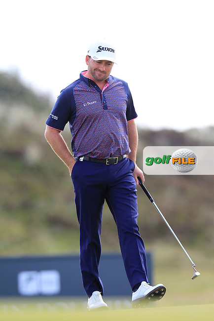 Graeme McDOWELL (NIR) walks onto the 5th green during Saturday's Round 3 of the 2015 Dubai Duty Free Irish Open, Royal County Down Golf Club, Newcastle Co Down, Northern Ireland 5/30/2015<br /> Picture Eoin Clarke, www.golffile.ie