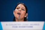 © Joel Goodman - 07973 332324 . 02/10/2016 . Birmingham , UK . International Development Secretary PRITI PATEL speaks to the conference during the first day of the Conservative Party Conference at the International Convention Centre in Birmingham . Photo credit : Joel Goodman